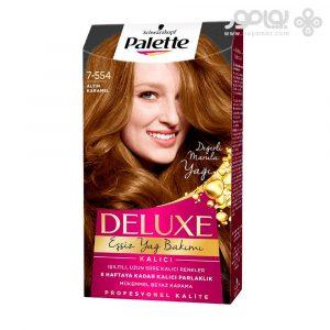 کیت رنگ موی پلت سری دلوکس شماره 7.554 رنگ کاراملی طلایی