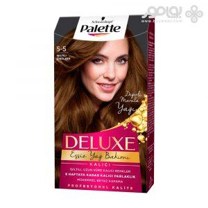 کیت رنگ موی پلت مدل دلوکس شماره 5.5 رنگ شکلاتی براق