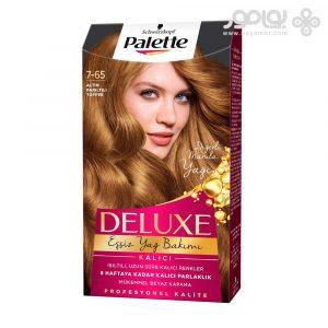 کیت رنگ موی پلت مدل دلوکس شماره 7.65 رنگ تافی طلایی