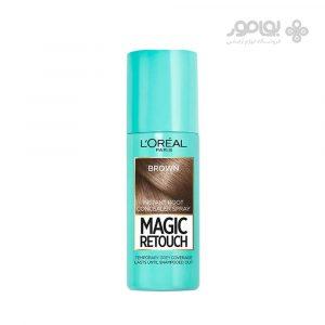 اسپری کانسیلر ریشه مو لوارل مدل magic retouch رنگ قهوه ای