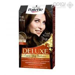 کیت رنگ موی پلت مدل دلوکس شماره 7.36 رنگ دودی شاه بلوطی