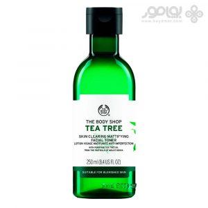تونر پاک کننده بادی شاپ مدل tea tree مناسب پوست های جوشدار